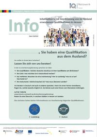 IQ Infoblatt mit Informationen zur Anerkennung von im Ausland erworbenen Qualifikationen in Hessen