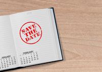 """Taschenkalender mit der Inschrift """"Save the Date"""""""