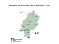 Standorte der IQ Anerkennungsberatung in Hessen